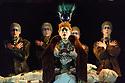 "London, UK. 08.03.2019. English National Opera, in collaboration with Improbable, presents ""Akhnaten"", composed by Philip Glass, and directed by Phelim McDermott. Set design is by Tom Pye, costume design by Kevin Pollard and lighting design by Bruno Poet. Sean Gandini is the skills ensemble choreographer. The cast is: Anthony Roth Costanzo (Akhnaten), Katie Stevenson (Nefertiti), Rebecca Bottone (Queen Tye), James Cleverton (Horemhab), Keel Watson (Aye), Colin Judson (High Priest of Amon), Zachary James (Scribe), Charlotte Shaw, Hazel McBain, Rosie Lomas, Elizabeth Lynch, Martha Jones, and Angharad Lyddon (Daughters of Akhnaten), Ewan Hawkins (Young Tutankhamun). The jugglers are: Sean Gandini, Tedros Girmaye, Doreen Grossmann, Kim Huynh, Francesca Mari, Chris Patfield, Owen Reynolds, Inaki Sastre, Jose Triguero and Kati Yla-Hokkala. Picture shows: Rebecca Bottone (Queen Tye). Photograph © Jane Hobson."