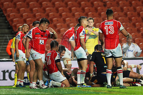 April 29th 2017, FMG Stadium Waikato, Hamilton, New Zealand; Super Rugby; Chiefs versus Sunwolves;  Dejected Sunwolves players at full time in the Super Rugby rugby match