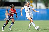 2 October 2011:  FIU forward Chelsea Leiva (2) moves the ball upfield while being pursued by South Alabama defender Landi Wilson (15) in the second half as the FIU Golden Panthers defeated the University of South Alabama Jaguars, 2-0, at University Park Stadium in Miami, Florida.