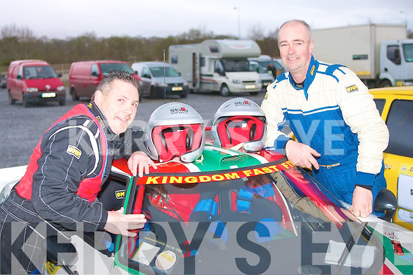 Wheel nuts: Co Pilot Tom Barrett and driver Gerard McCarthy,both from Tralee,about to climb aboard their lovely Lancia Stratus at the start of the circuit of kerry car rally last sunday at the Fels point hotel.