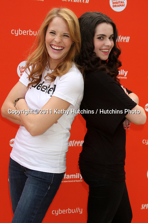 LOS ANGELES - JUL 14:  Katie Leclerc,  Vanessa Marano arriving at the Delete Digital Drama Rally at Americana on July 14, 2011 in Glendale, CA