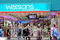 Watson's in Central District of Hong Kong.  Watson is the No. One Personal Healthcare Store brand in Asia and the largest beauty and personal care retailer and pharmacy chain in Hong Kong. Watson's is owned by Hutchison Whampoa Limited (HWL) which is a leading international corporation run by Li Ka Shing, that owns port facilities, telecommunications companies as well as retail operations and turns over HWL reports turnover of approximately HKD348 billion (USD45 billion)..