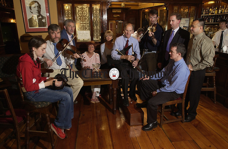 At the presentation of the prize for the best traditional pub of the recent Fleadh Nua, to The poets Corner at the Old Ground Hotel, were, Aisling and Brian Prior, Dick O Connell, Miriam Glynn, Bernie Gallagher, Frank Whelan, Denis Liddy, Raymond Foudy, manager, Old Ground, Jeff Spellman bar manager and Abdul Rehaman, barman. Photograph by John Kelly.