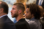 Sergio Ramos and Marcelo during the tribute to Cristiano Ronaldo by Real Madrid CF on the occasion of his new record by being the top scorer in the club's history at Santiago Bernabeu Stadium in Madrid, October 02, 2015.<br /> (ALTERPHOTOS/BorjaB.Hojas)