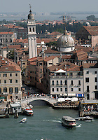 The leaning tower of the Greek church, San Giorgio dei Greci, Venice, Italy.