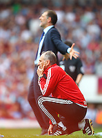 Francesco Guidolin manager of Swansea and Slaven Bilic manager of West Ham United   during the Barclays Premier League match between West Ham United and Swansea City  played at Boleyn Ground , London on 7th May 2016