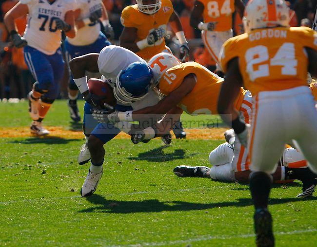 Randall Cobb goes down after catching a pass in the first half of UK vs Tennessee at Neyland Stadium on Saturday, Nov. 27, 2010. Photo by Britney McIntosh | Staff