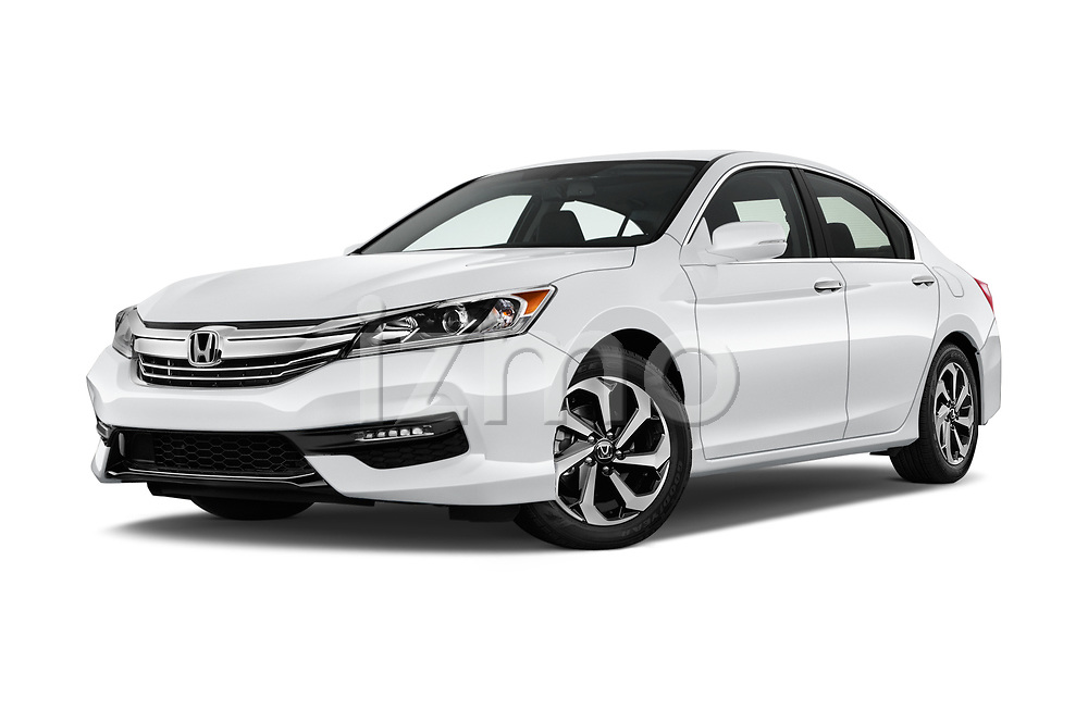 Stock pictures of low aggressive front three quarter view of 2017 Honda Accord EX-L 4 Door Sedan Low Aggressive