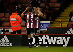 Nathan Thomas of Sheffield Utd  celebrates scoring the second goal with Ched Evans of Sheffield Utd during the Carabao Cup First Round match at Bramall Lane Stadium, Sheffield. Picture date: August 9th 2017. Pic credit should read: Simon Bellis/Sportimage