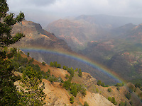 "A rainbow adorns Waimea Canyon or ""the Grand Canyon of the Pacific,"" Kaua'i."