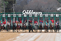 HOT SPRINGS, AR - FEBRUARY 19:Race number eight. Starting gate and start of the Razorback Handicap  at Oaklawn Park on February 19, 2018 in Hot Springs, Arkansas. (Photo by Ted McClenning/Eclipse Sportswire/Getty Images)
