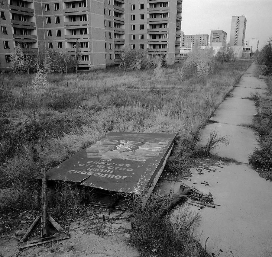 "Chernobyl, Ukraine, Ocober 1995..The explosion at the Chernobyl Nuclear Power Plant on April 26 1986 was the worst nuclear accident in history..The city of Pripyat, within sight of the power plant, and formerly the home of Chernobyl staff and thousands of others, lies deserted. The fallen sign reads ""Glory to our free Motherland""."