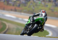 A motorcycle races through a turn at the AMA Superbike Showdown at Road ATlanta, Braselton, GA, April 2010.  (Photo by Brian Cleary/www.bcpix.com)