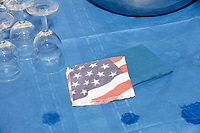 An American flag is seen on the dessert table at the Milford Democrats' Potluck Supper at the Unitarian Universalist Congregation Church in Milford, New Hampshire, USA, on Sat., Apr. 6, 2019. Democratic presidential candidate and Congressional Representative Eric Swalwell (D-CA 15th) spoke at the event. Swalwell is running primarily on gun control issues.