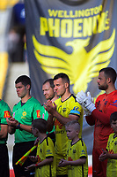 The players acknowledge the efforts of Australian firefighters before the A-League football match between Wellington Phoenix and Central Coast Mariners at Westpac Stadium in Wellington, New Zealand on Saturday, 4 January 2020. Photo: Dave Lintott / lintottphoto.co.nz