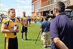 BROOKINGS, SD - AUGUST 11: TJ Lalley #33 of South Dakota State University football talks to the media Monday afternoon at the Jacks Media Day in Brookings. (Photo by Dave Eggen/Inertia)