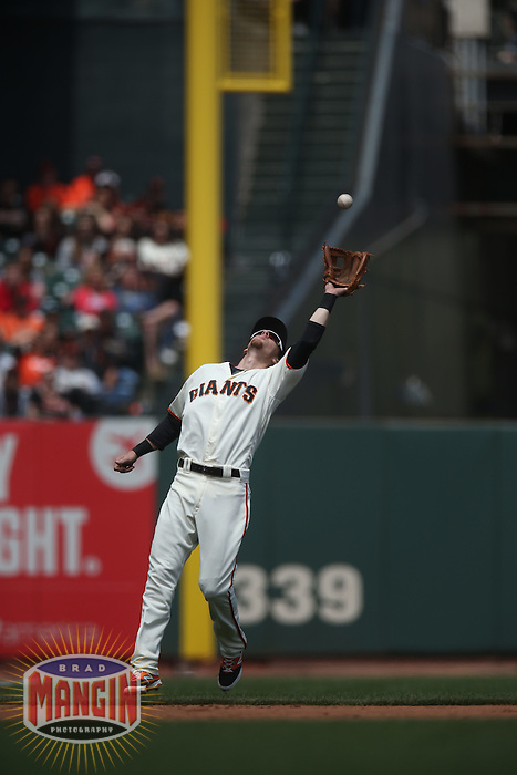 SAN FRANCISCO, CA - MAY 25:  Matt Duffy #5 of the San Francisco Giants catches a pop up at third base against the San Diego Padres during the game at AT&T Park on Wednesday, May 25, 2016 in San Francisco, California. Photo by Brad Mangin