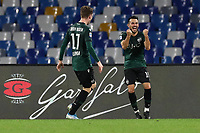 Nicola Sansone of Bologna  celebrates after scoring a goal<br /> Napoli 01-12-2019 Stadio San Paolo <br /> Football Serie A 2019/2020 <br /> SSC Napoli - Bologna FC<br /> Photo Cesare Purini / Insidefoto