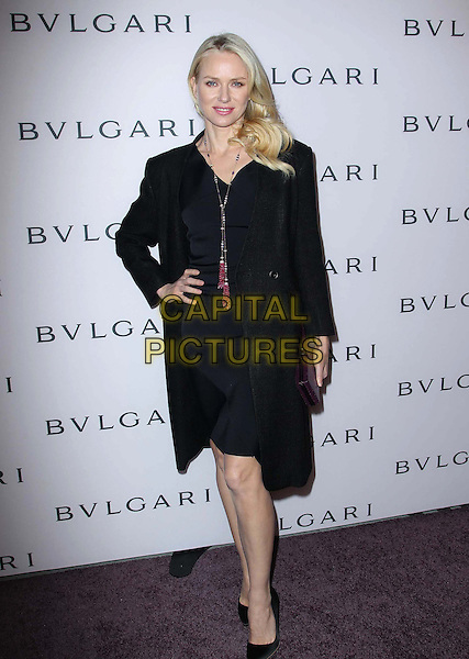 Naomi Watts.BVLGARI celebrates Elizabeth Taylor's magnificent collection of BVLGARI jewelry held at the BVLGARI store, Beverly Hills, California, USA..February 19th, 2013.full length black dress blazer pink necklace tassels beads beaded hand on hip.CAP/ADM/FS.©Faye Sadou/AdMedia/Capital Pictures.
