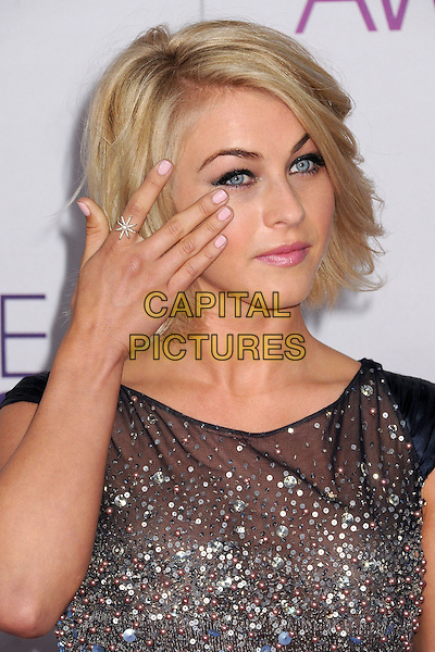 Julianne Hough.People's Choice Awards 2013 - Arrivals held at Nokia Theatre L.A. Live, Los Angeles, California, USA..January 9th, 2013.headshot portrait silver blue beads beaded hand arm wiping ring.CAP/ADM/BP.©Byron Purvis/AdMedia/Capital Pictures.