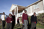 ELDORET, KENYA - MAY 18: Jonathan Kitum, age 16, and Eliud Kibet, age 18, (center) walks with friends at Kipkeino Highschool early in the morning as the sun goes up. They are promising long distance runners and they have already trained for an hour from 5.15 in the morning. (Photo by: Per-Anders Pettersson)