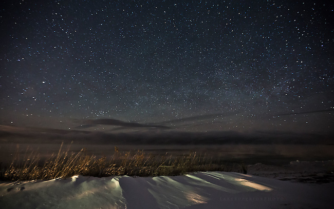 January's night sky over Lake Superior