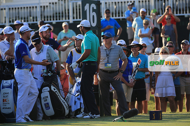 Shane Lowry (IRE) and Jason Day (AUS) during the Third Round of The Players, TPC Sawgrass, Ponte Vedra Beach, Jacksonville.   Florida, USA. 14/05/2016.<br /> Picture: Golffile | Mark Davison<br /> <br /> <br /> All photo usage must carry mandatory copyright credit (&copy; Golffile | Mark Davison)