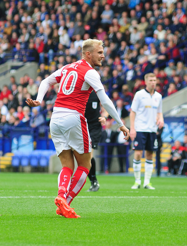 Fleetwood Town's David Ball celebrates scoring the opening goal <br /> <br /> Photographer Chris Vaughan/CameraSport<br /> <br /> Football - The EFL Sky Bet League One - Bolton Wanderers v Fleetwood Town - Saturday 20 August 2016 - Macron Stadium - Bolton<br /> <br /> World Copyright &copy; 2016 CameraSport. All rights reserved. 43 Linden Ave. Countesthorpe. Leicester. England. LE8 5PG - Tel: +44 (0) 116 277 4147 - admin@camerasport.com - www.camerasport.com