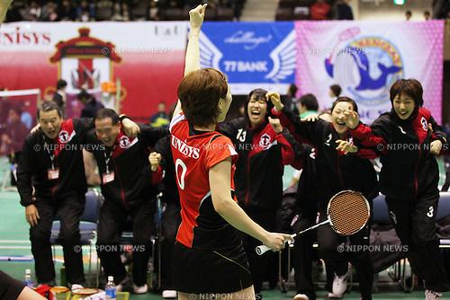 Reiko Shiota (Nihon Unisys), December 25, 2011 - Badminton : Nippon League 2011, Women's Doubles at 2nd Yoyogi Gymnasium, Tokyo, Japan. (Photo by Daiju Kitamura/AFLO SPORT) [1045]