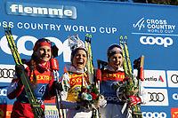 5th January 2020; Val Di Fiemme Ski Resort, Val Di Fiemme, Trento, Italy; International Ski Federation Audi FIS Womens Cross Country Ski World Cup, Tour De Ski Val Di Fiemme; On the podium from left, Natalia Nepryaeva (RUS), Therese Johaug (NOR), Ingvild Flugstad Oestberg (NOR)