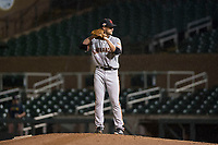 Scottsdale Scorpions relief pitcher Chase Johnson (31), of the San Francisco Giants organization, gets ready to deliver a pitch during an Arizona Fall League game against the Salt River Rafters at Salt River Fields at Talking Stick on October 11, 2018 in Scottsdale, Arizona. Salt River defeated Scottsdale 7-6. (Zachary Lucy/Four Seam Images)