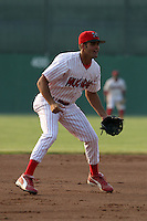 June 25, 2005:  Third Baseman Mike Costanzo of the Batavia Muckdogs during a game at Dwyer Stadium in Batavia, NY.  The Muckdogs are the Short Season Class-A affiliate of the Philadelphia Phillies.  Photo By Mike Janes/Four Seam Images