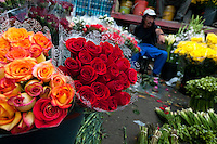 A Colombian man sells bunches of roses in the flower market of Bogota, Colombia, 10 July 2010. Colombia is one of the world leaders in cut flower industry. The advantage of the moderate sunny climate, very cheap labor force in combination with the absence of social laws and environmental regulations have created perfect conditions for the cut flower production. Flower growing is very fragile and necessarily depends on irrigation and chemical maintenance, provided by highly toxic pesticides. About 110.000 workers in Colombia, working mainly for living minimum wage, keep the floral industry going and saturate the market generated by consumerist culture the US, Canada and Europe.