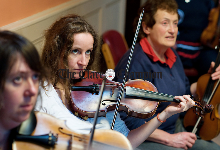 Mary Keady taking part in a fiddle master class at Brogans during the Ennis Trad Festival. Photograph by John Kelly.
