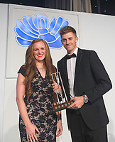 Picture by Allan McKenzie/SWpix.com - 05/10/17 - Cricket - Yorkshire County Cricket Club Gala Dinner 2017 - Elland Road, Leeds, England - Ben Coad wins the Supporters Player of the Year Award.