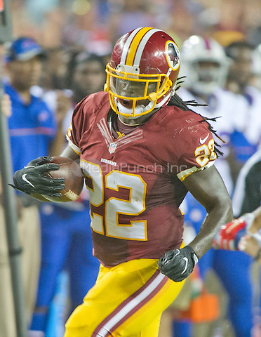 Washington Redskins running back Robert Kelley (22) carries the ball during the second quarter of the pre-season game against the Buffalo Bills at FedEx Field in Landover, Maryland on Friday, August 26, 2016.  The Redskins won the game 21 - 16.<br /> Credit: Ron Sachs / CNP/MediaPunch ***FOR EDITORIAL USE ONLY***