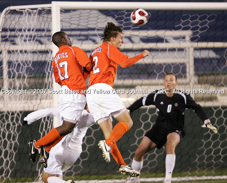 16 November 2007: Virginia Tech's Jonathan Collier (17) and Alexander Baden (2) both try to convert a cross against Boston College goalkeeper Chris Brown (0). Boston College defeated Virginia Tech 3-1 at SAS Stadium in Cary, NC in an Atlantic Coast Conference Men's Soccer tournament semifinal.