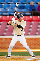 Joe Napolitano #12 of the Wake Forest Demon Deacons at bat against the UNC-Asheville Bulldogs at Wake Forest Baseball Park on February 28, 2012 in Winston-Salem, North Carolina.  The Demon Deacons defeated the Bulldogs 9-8.  (Brian Westerholt/Four Seam Images)