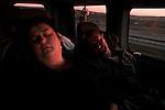 Relatives of Basque prisoners sleeping on the van, on their way back home from Herrera de la Mancha prison after having visited their loved ones. Somewhere in Madrid (Spain) May 15, 2008Basque prisoners are dispersed on Spanish and French prisons. Usually their relatives travel together using vans driven by volunteers who they call themselves 'Mirentxin' (something similar to 'little Mari'). (Bostok Photo / Gari Garaialde)