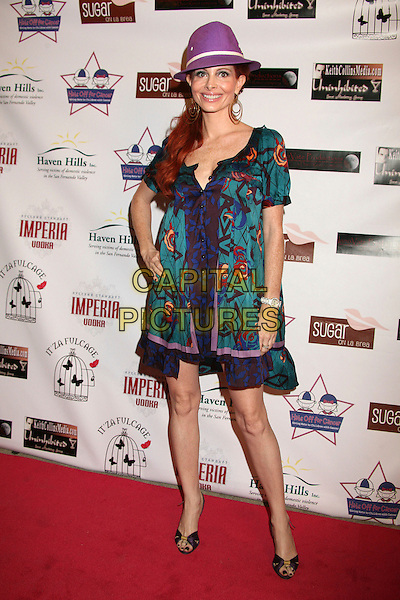 """PHOEBE PRICE.""""Hats Off For Cancer"""" Benefit Party at Sugar Boutique, Hollywood, California, USA..May 9th, 2007.full length trilby hat purple hoop earrings green blue dress.CAP/ADM/BP.©Byron Purvis/AdMedia/Capital Pictures"""