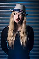 Shauna Coxsey posing for a portrait at the Climbing Hangar, Liverpool, United Kingdom on January 19, 2016