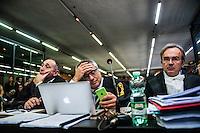 Da sinistra, i pubblici ministeri Giuseppe Cascini, Paolo Ielo e Luca Tescaroli all'udienza di apertura del processo su Mafia Capitale, al Tribunale di Roma, 5 novembre 2015.<br /> From left, public prosecutors Giuseppe Cascini, Paolo Ielo and Luca Tescaroli attend the opening audience of the trial on Mafia Capitale, at Rome's court, 5 November 2015.<br /> UPDATE IMAGES PRESS/POOL - AGF - Alessandro Serrano'˜
