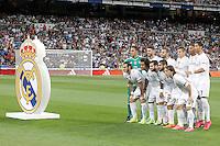 Real Madrid's team photo with Keylor Navas, Sergio Ramos, Jese Rodriguez, Toni Kroos, Carlos Henrique Casemiro, Cristiano Ronaldo, Garet Bale, Marcelo Vieira, Nacho Fernandez, Isco and Luka Modric during XXXVI Santiago Bernabeu Trophy. August 18,2015. (ALTERPHOTOS/Acero)