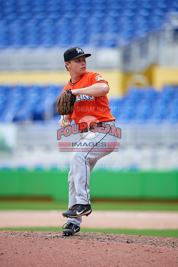 Miami Marlins Zach Wolf (56) delivers a pitch during a Florida Instructional League game against the Washington Nationals on September 26, 2018 at the Marlins Park in Miami, Florida.  (Mike Janes/Four Seam Images)