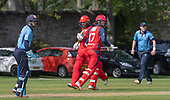 Issued by Cricket Scotland - Tilney Regional Series - Knights V Warriors - Grange CC - in the first of this season's mens Tilney Regional Series Eastern Knights Dylan Budge (centre, no17) making runs to pass his 50 as the match progressed  - picture by Donald MacLeod - 28.04.19 - 07702 319 738 - clanmacleod@btinternet.com - www.donald-macleod.com