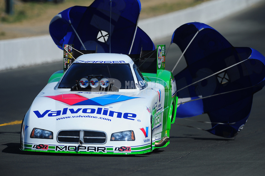 Jul. 30, 2011; Sonoma, CA, USA; NHRA funny car driver Jack Beckman during qualifying for the Fram Autolite Nationals at Infineon Raceway. Mandatory Credit: Mark J. Rebilas-