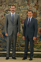 King Felipe VI of Spain receives the Xunta de Galicia President, Alberto Nunez Feijoo, during a work meeting at Zarzuela Palace in Madrid, Spain. July 08, 2015. (ALTERPHOTOS/Victor Blanco)