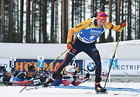March 14th 2020, Kontiolahti, Finland;  Benedikt Doll of Germany competes during the mens 12.5 km Pursuit competition at the IBU Biathlon World Cup in Kontiolahti, Finland, on March 14, 2020.