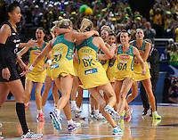 16.08.2015 Australia's Natalie Medhurst celebrates after the Silver Ferns v Australia Gold Medal netball match at the 2015 Netball World Cup at All Phones Arena in Sydney Australia. Mandatory Photo Credit ©Michael Bradley.