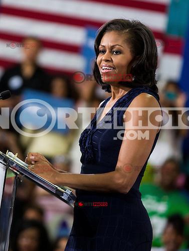 LAS VEGAS, NV - October 26:  Michelle Obama speaks t Grassroots Supporters at Orr Middle School Gymnasium on October 25, 2012 in Las Vegas, Nevada. &copy; Kabik/ Starltepics /MediaPunch Inc. /NortePhoto .<br /> &copy;NortePhoto